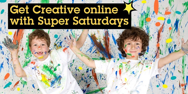 Children with paint on their hands promoting online Super Saturdays