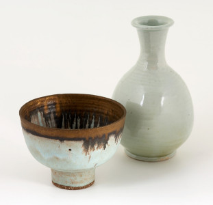 Works by Lucie Rie (L) and Bernard Leach (R)