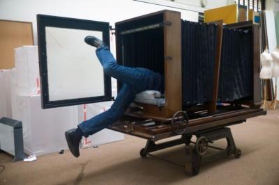Ian Beesley inside the big big camera