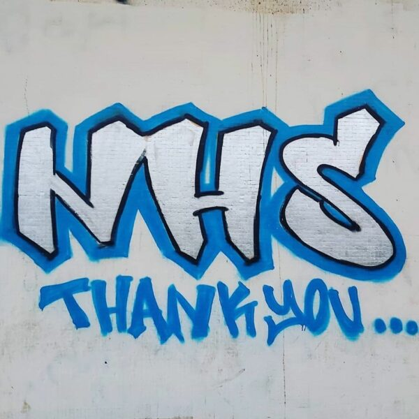 NHS thankyou, graffetti art on wall