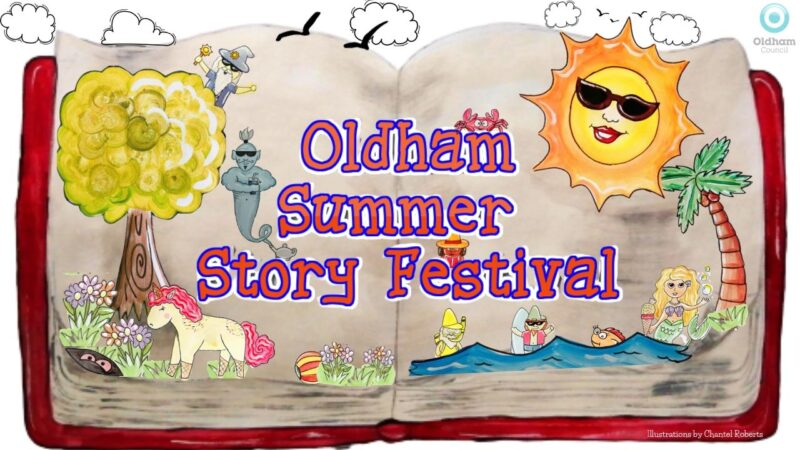Oldham Summer Story Festival header. An open book with different characters from the stories.