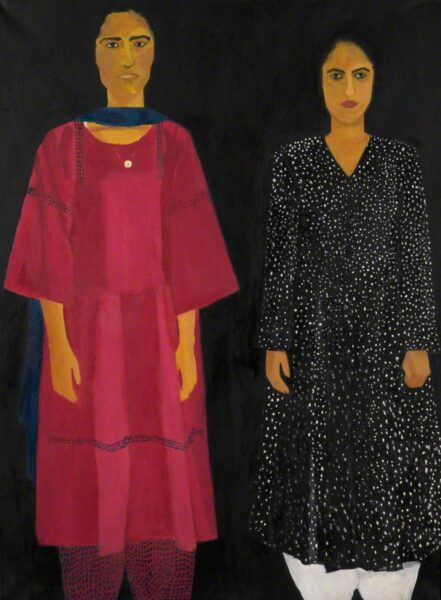 Image of 'Portrait of Two Sisters' by Aneela Majid. The image shows two women stood next to each other. One is wearing pink with blue detail and a matching blue scarf. The other is wearing Black with white spots.