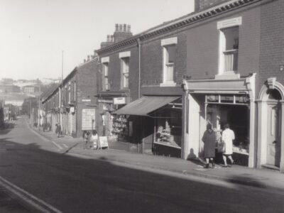 Photograph of Waterloo street, where Len Johnson lived, in the late 1960s.