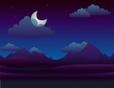 Image of clouds and mountains lit up by a crescent moon.
