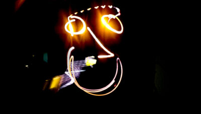 Face in light using light painting technique.