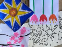Image of example design sketches including tulips and sun on blue background.
