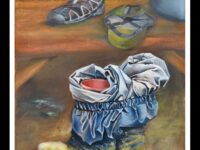 painting of waterproof trousers and wellies left while on a break
