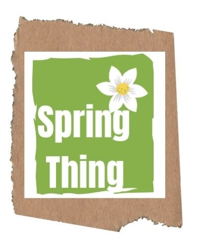 Spring Thing logo with white writing on a green background with a white flower.