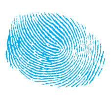 Fingerprint in blue ink