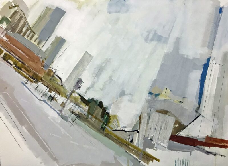 Painting on a diagonal compositionshowing Manchester skyscrapers and urbanscape with road in the foreground.