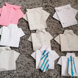 A collection of Origami shirts created by a participant