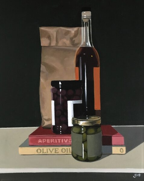 Still life painting of a bottle of wine, jar of olives and books with a brown paper bag in the background.