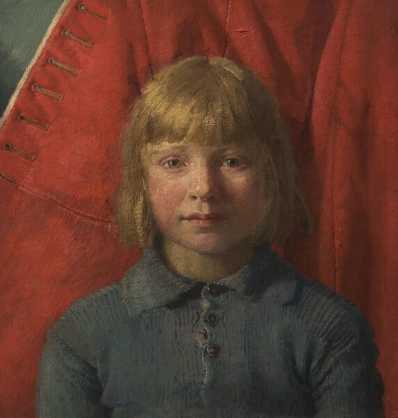 Painting of a young girl wearing a blue woollen top with buttons. Behind the red tunic of a soldier.