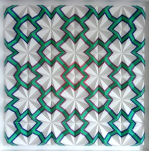 Geometric wall based abstract artwork by Zarah Hussain