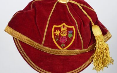 Red velvet Rugby Great Britain cap owed by Alan Davies
