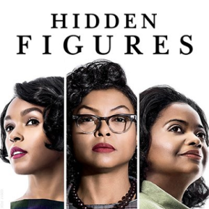 Hidden Figures film poster showing the faces of 3 women with the film title at the top of the page.