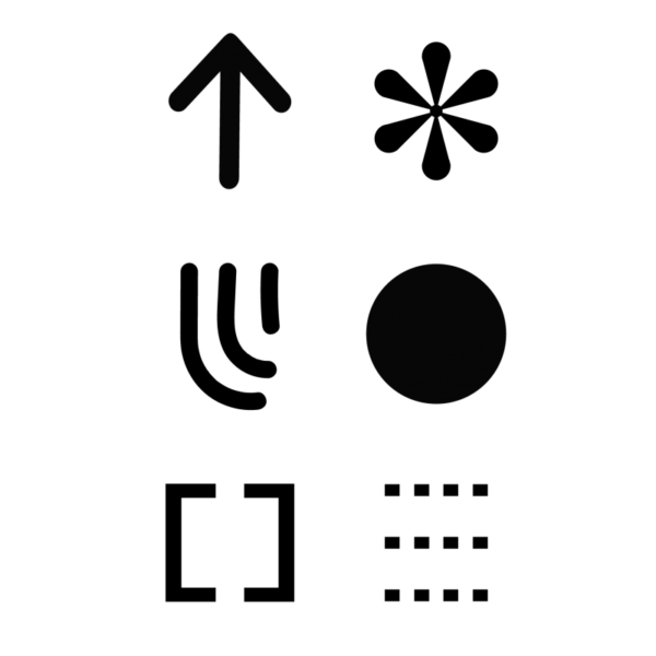 Black and white icons including an upward arrow, star, circle, dotted lines amongst others.