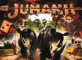 Film poster showing animals, dice, a game board background with the film title Jumanji at the top of the page